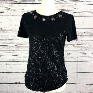 LOFT Black Sequin Jeweled Neckline Shirt